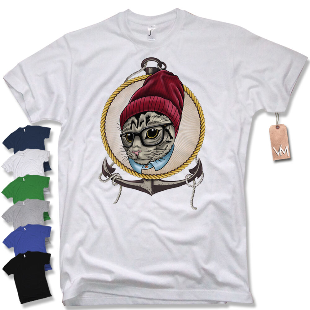 T Shirt Hipster Cat Swag Vintage Homies Retro Ancre Sailor Taille