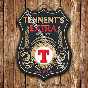 Tennent-039-s-Extra-Birra-pubblicita-Bar-VECCHIO-PUB-METALLO-POMPA-DISTINTIVO-SHIELD