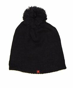 40eff713ca0 Unisex WARM Black Knit Ski Hat with Frayed Puff Ball One Size Fits ...