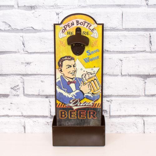 Wooden Wall Mounted Beer Bottle Opener Cap Catcher Coke Garden Party BBQ Gift