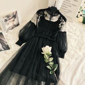 Lady-Fairy-Floral-Lace-Mesh-Puff-Sleeves-Dress-High-Waist-Retro-Lolita-Elegant