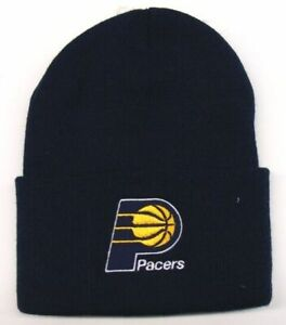 INDIANA-PACERS-Logo-Cuffed-Beanie-Cap-New-Vintage-Logo-Navy-Blue