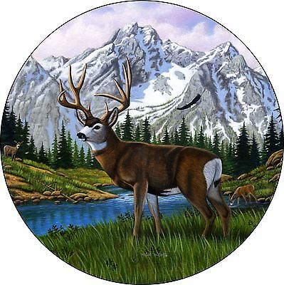 """15/"""" SPARE TIRE COVER WILDERNESS DEER BLACK HEAVY DUTY VINYL TIRE COVER"""