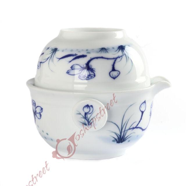 JingDe Porcelain Fish Gaiwan Teapot with Cup Teacup Quick Gongfu Tea Maker Set