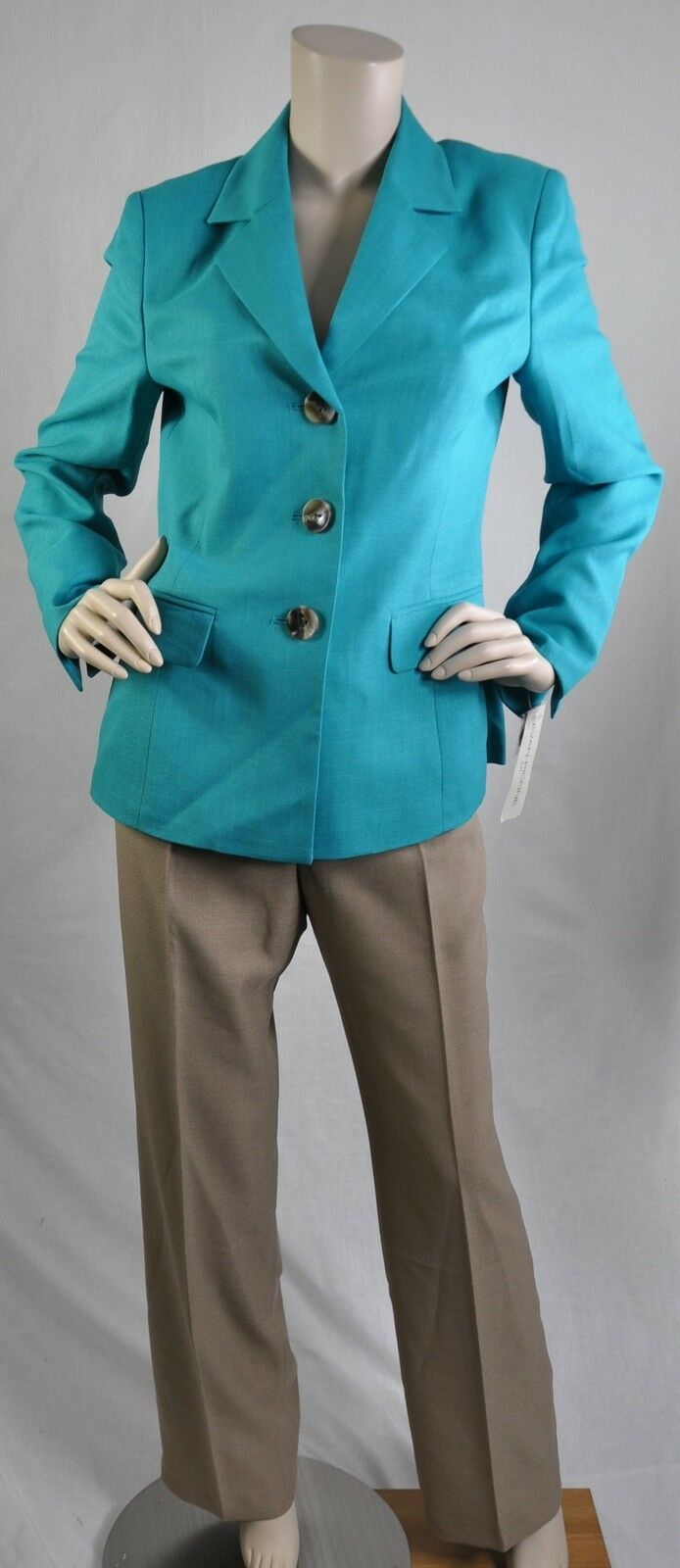Evan Picone NWT Solid Pant Suit  Classic Time  Career Turquoise Sand Sz 6  200
