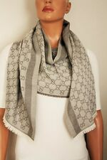 GUCCI Strickschal mit GG Jacquard-Muster 70x195 cm Wolle/Seide beige NEU