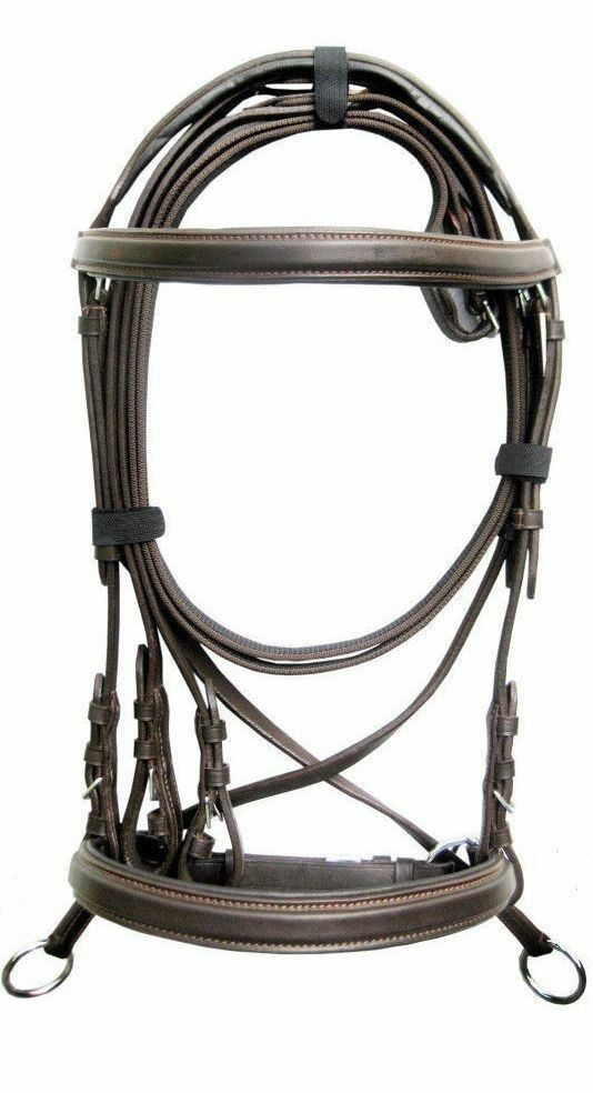 New Leather Cross Over Bitless Bridles with Reins Brown Cob Bridle English ride