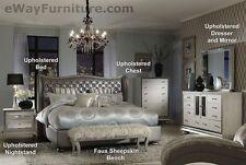 Metallic Graphite King Leather Bed 5PC Set 2 Nightstands Dresser Mirror Bedroom