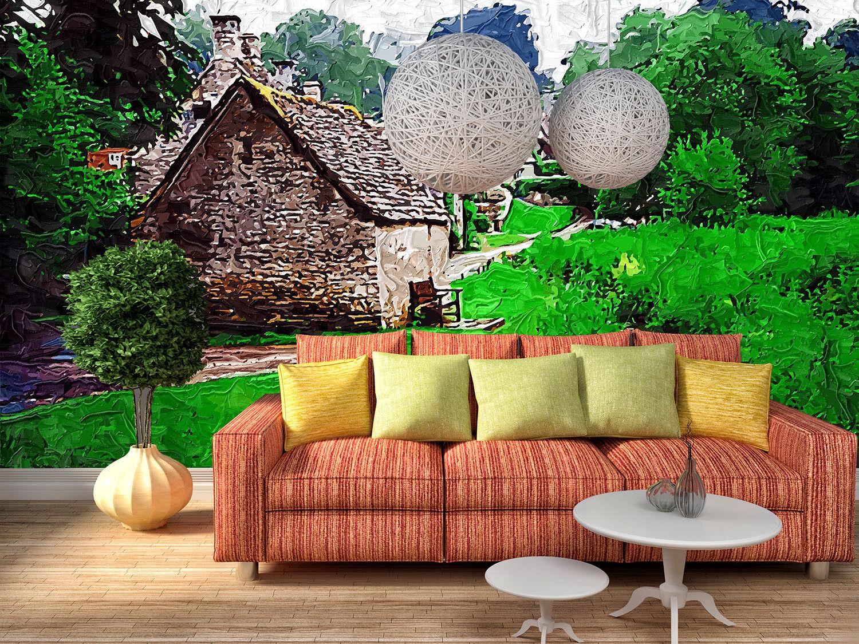 3D Hell Grünes Häus  87 Tapete Wandgemälde Tapete Tapeten Bild Familie DE Summer