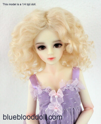 1/4 or 1/6 bjd 6-7 doll wig blonde curly real mohair dollfie YOSD Lati JD-039