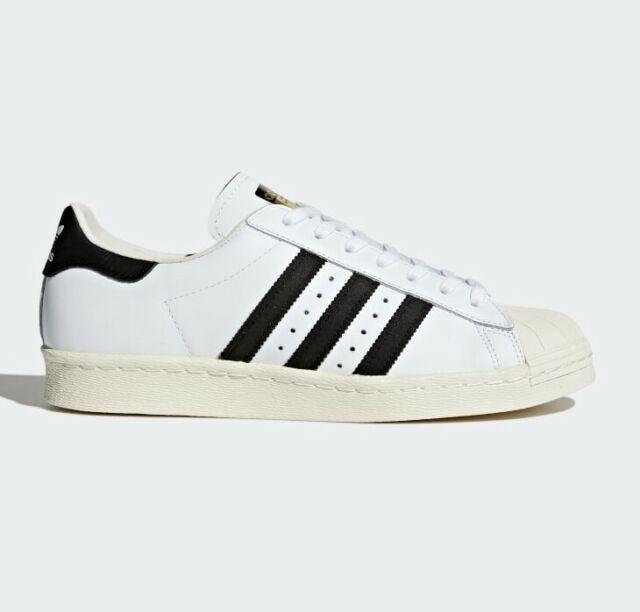 New Mens Adidas Originals Superstar 80s Shoes sz 9 White Black Chalk Gold G61070