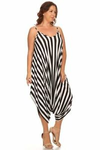 d7c7807c4b58 New Women's Plus Size Black White Stripe Harem Jumpsuit Romper Sizes ...