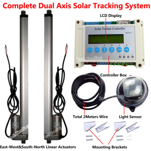 "Complete Sunlight Track Dual Axis Solar Tracker Kit /&2*18/"" DC12V Linear Actuator"