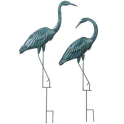 Set of 2 Ornamental Decorative Metal Garden Verdigris Herons (Pond, Patio)