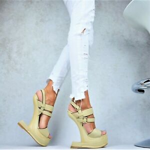 Designer Sandalen Damenschuhe Club-Party SCHICKE Plateau Keilabsatz Party Pumps
