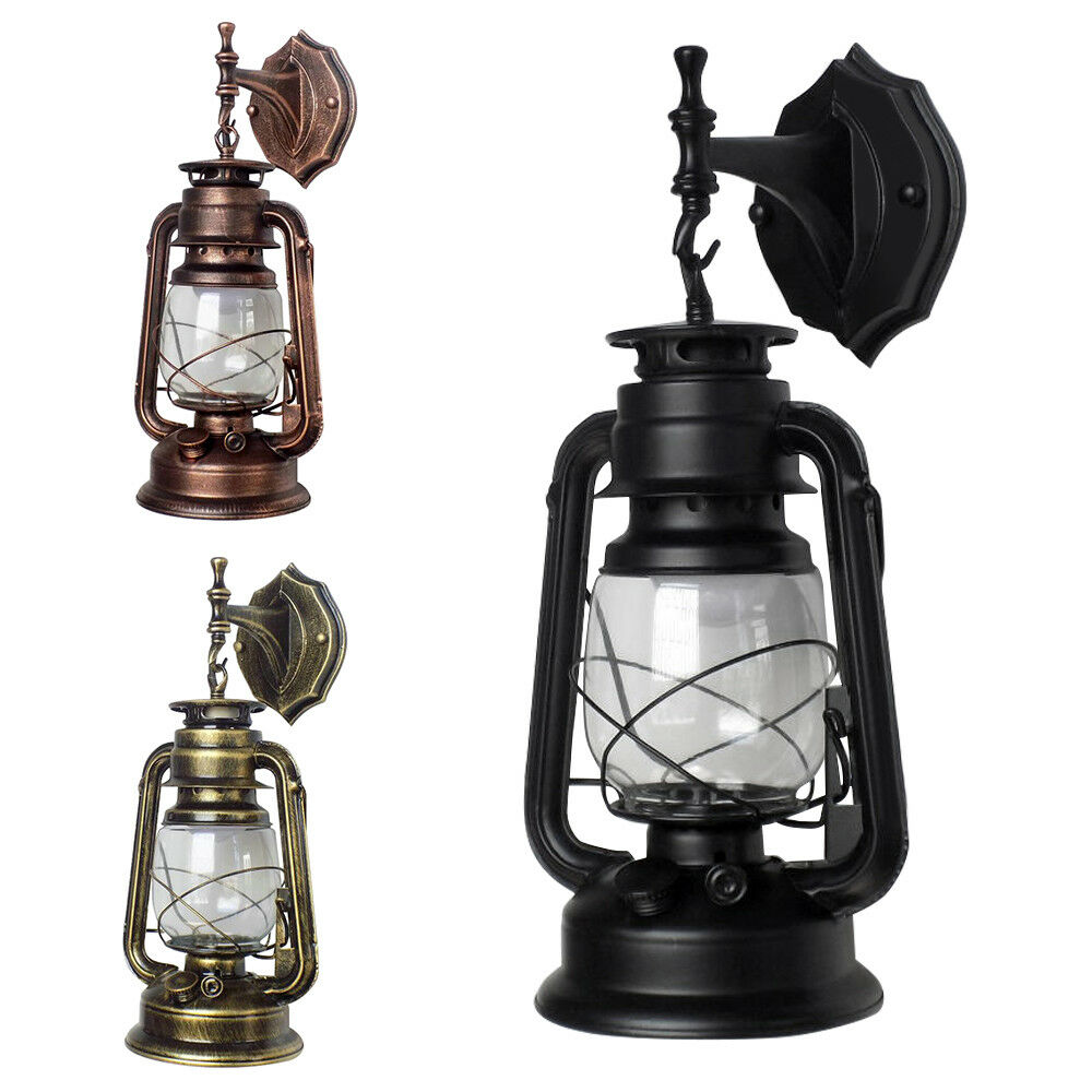 Vintage Rustic Lantern Lamp Industrial Retro Wall Mount Sconce Light Porch Lamp
