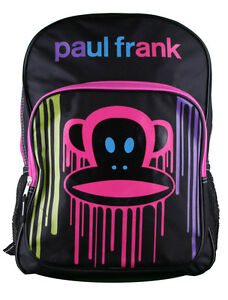 Paul-Frank-Big-KRNK-Face-Backpack-Black-Paint-Drip-Multi-Color-Drip-Pink