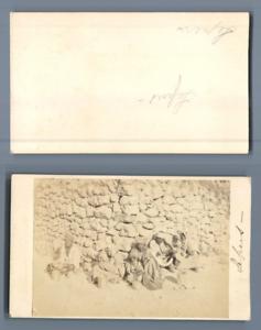 North Africa. Group of lepers, ca. 1870  CDV vintage albumen.  Tirage albuminé