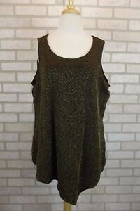 NEW-46-NY-Collection-Womens-Tank-Top-Shirt-Blouse-Gold-Black-Plus-Size-1X-NWT