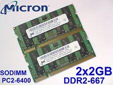4GB 2x2GB DDR2-667 PC2-5300 200pin 667Mhz MICRON LAPTOP SODIMM RAM SPEICHER