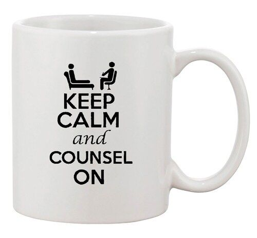 Keep Calm And Counsel On Counselling Psychology Funny Ceramic White Coffee Mug