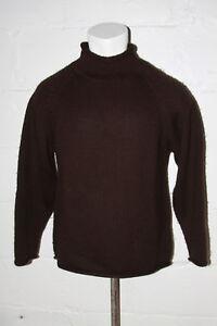 Euc J Crew 100 Wool Brown Roll Neck Fisherman Sweater Sz M Medium