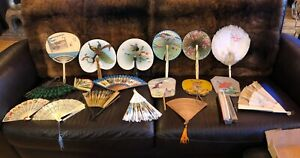 Antique-ASIAN-FANS-LOT-19-Pretty-Displays-AS-IS