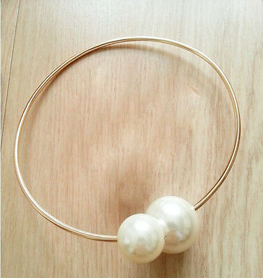 FUNKY Double Big Pearl Rose Gold Collar Choker Statement Necklace AUCB