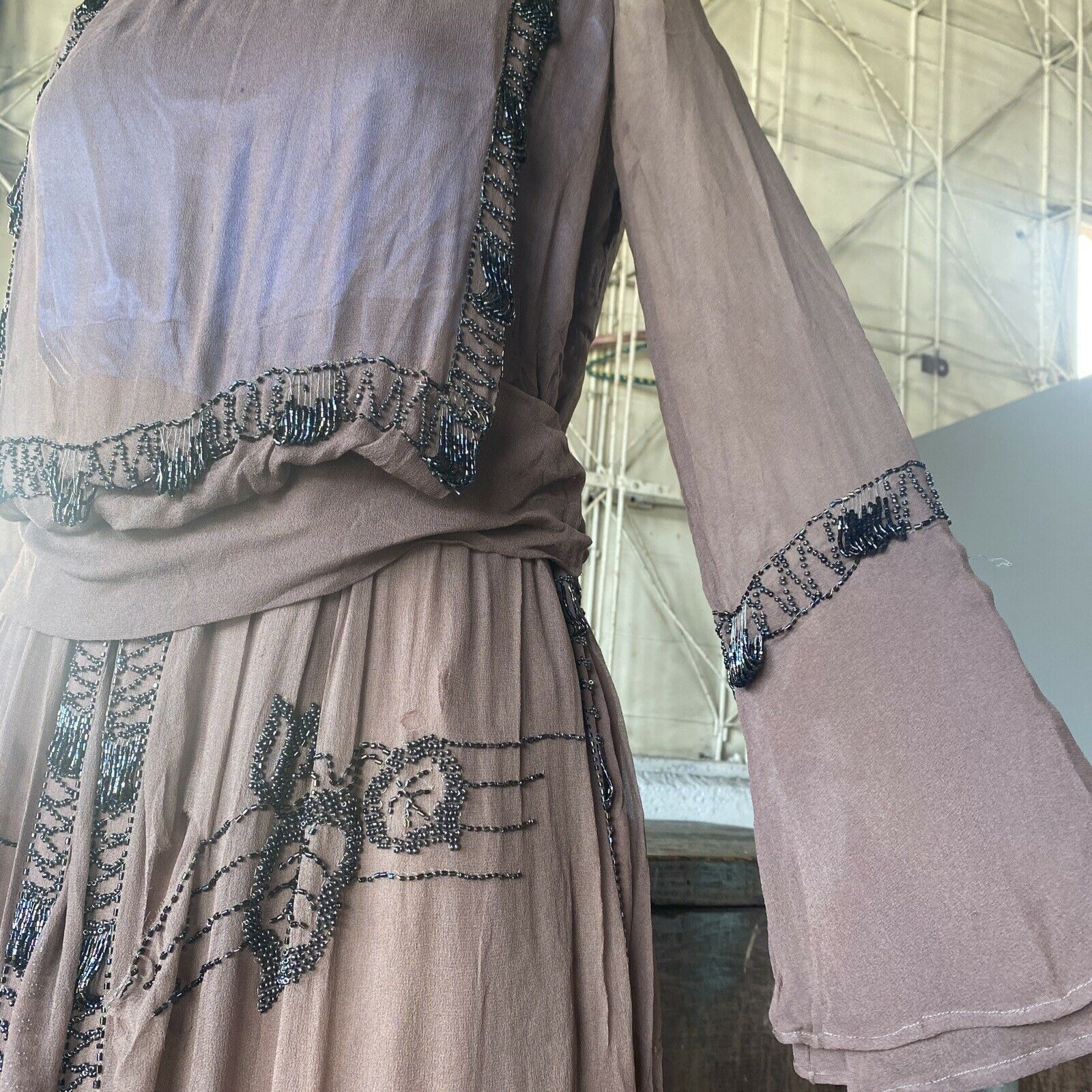 Antique 1910s Brown Silk Chiffon Tiered Beaded Dr… - image 7