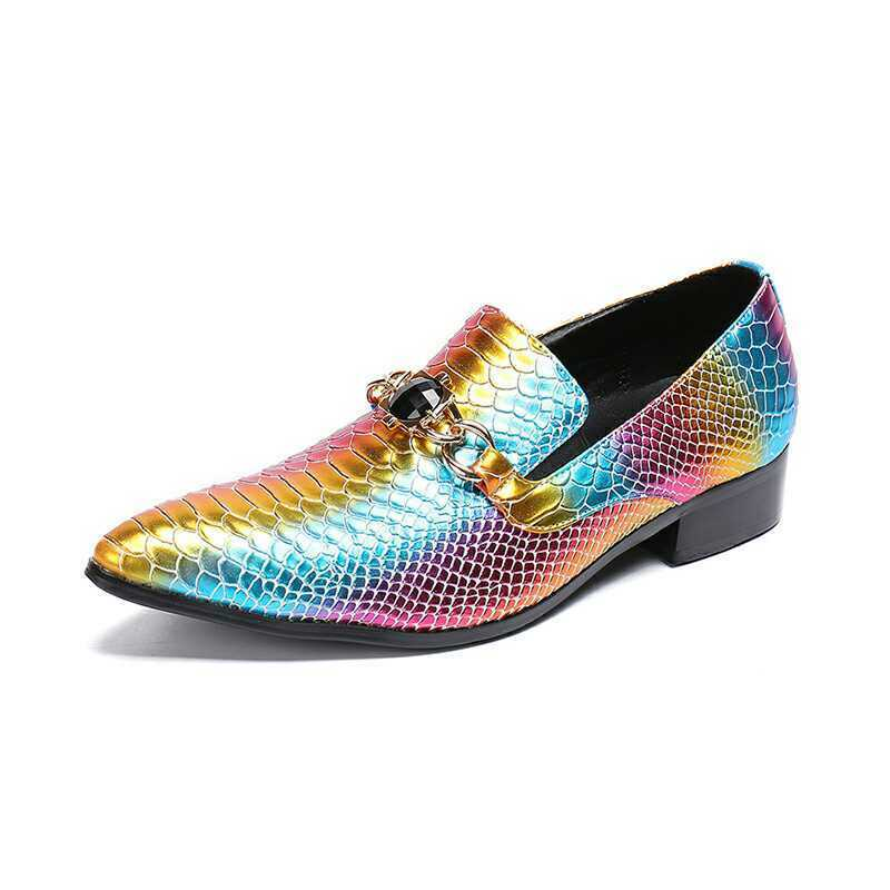 Scarpe casual da uomo  uomo Trendy Sexy Snakeskin Pointy Toe Leather Shoes Metal Decor High Heels Loafer