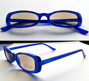 f3f74a432c2b Image is loading Sun-Reading-Glasses-Blue-plastic-frame-Tinted-Sun-