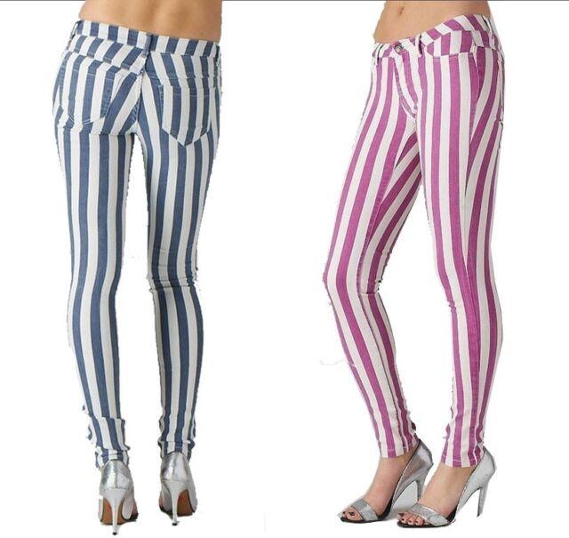 Trendy Striped Skinny Jeans Purple or Gray Women's white Skinny Jeans black slim
