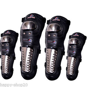 Motorcycle-Stainless-Steel-Racing-Elbow-Knee-Pads-Sets-Armor-Protective-MX-Guard