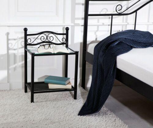 2x Nachtkonsole schwarz Nachttisch Betttisch romantisch Nachtkommoden Set Metall