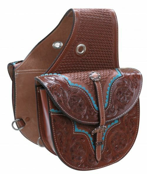 Showman Floral and Basket Tooled Saddle Bag with TEAL Scalloped Trim