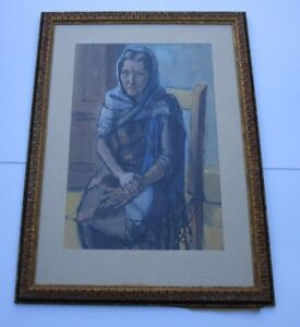 LARGE-JONATHAN-SCOTT-PAINTING-PORTRAIT-LISTED-AMERICAN-MODERNIST-FEMALE-WOMAN