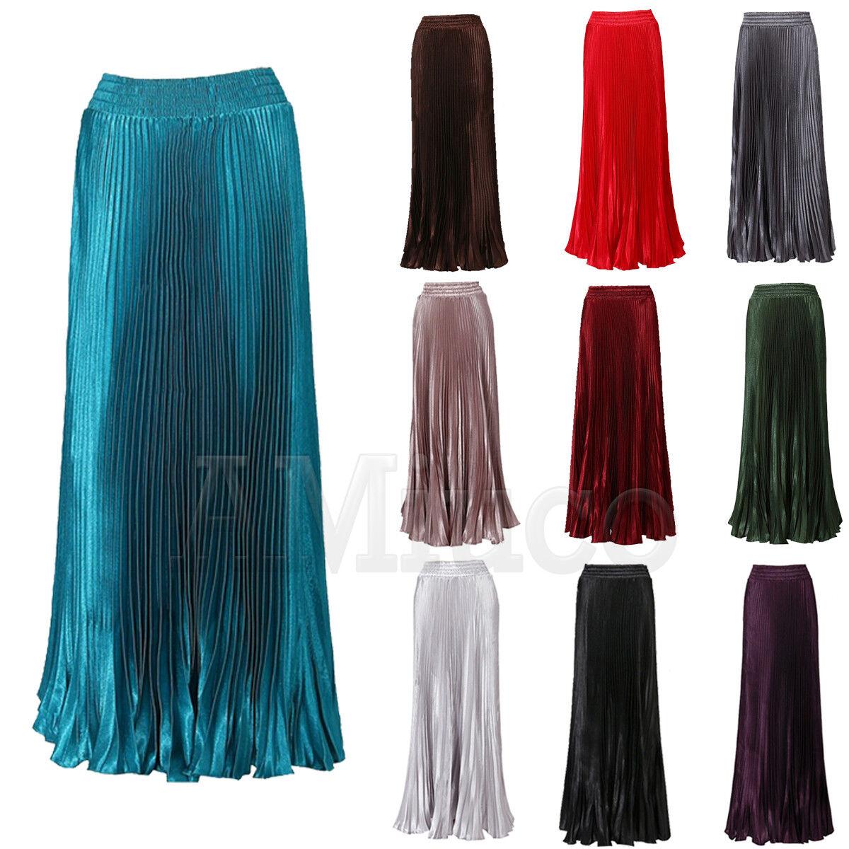 Women Elastic Waist Metallic Pleated Skirt Vintage Long Layer Pleated Maxi Dress