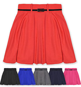 Girls-Skater-Skirt-Kids-Party-Skirts-With-Belt-New-Age-7-8-9-10-11-12-13-Years