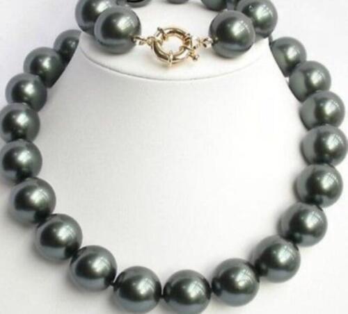 Belle AAA 16 mm NOIR South Sea Shell Perle Collier Bracelet