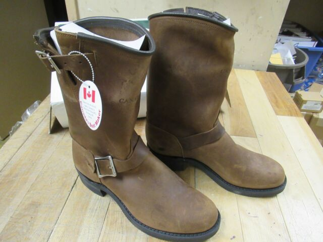 Cbm Canada Brown Distressed Leather Engineer Motorcycle Boots