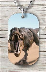 "dtr32w DINOSAUR TYREX IN DESERT DOG TAG NECKLACE 30/"" FREE CHAIN"