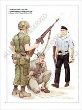 PLANCHE UNIFORMS PRINT Guerre Vietnam War US Army Viet Cong Red Khmer Rouge
