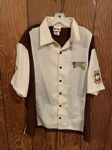 Walt Disney World Grumpy's Tavern Bowling Mens Button Shirt Embroidered Short XL