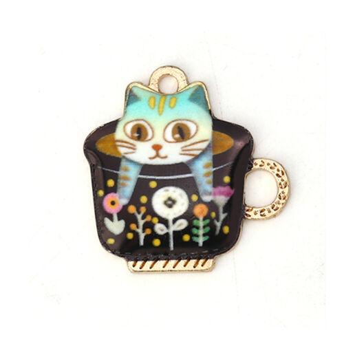 Zinc Based Alloy Charms Cup Gold Metal Cute Animals Black Cat Enamel Pendants