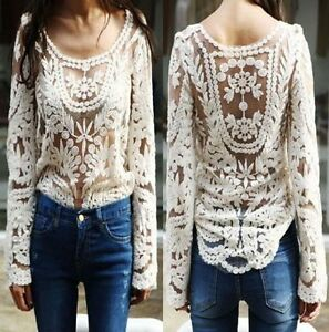 Women-039-s-Semi-Sheer-Sleeve-Embroidery-Floral-Lace-Crochet-T-Shirt-Blouse-Top