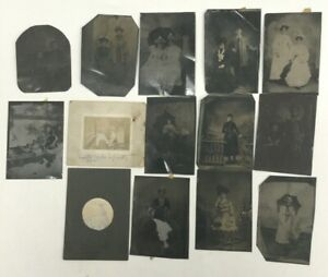 Lot-of-14-Vintage-Antique-Photographs-12-Tintypes-Women-Men-Children