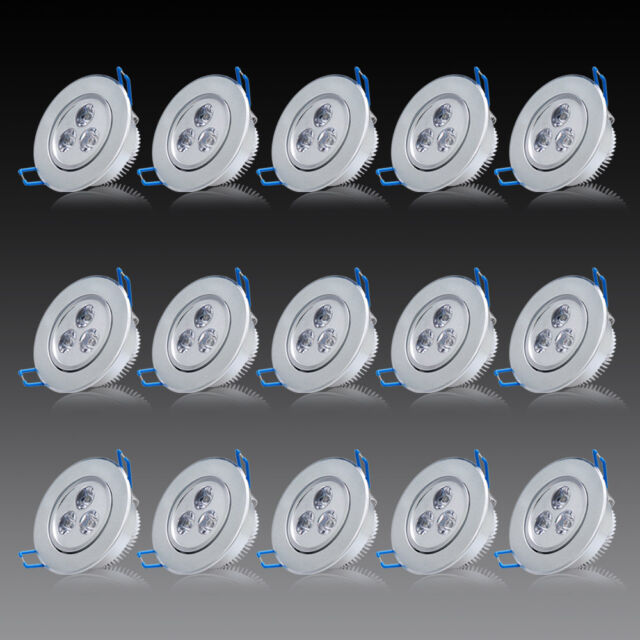 Neu 15 x 3W LED Spot Einbaustrahler Set Warmweiss Einbau Lampe Leuchte 230V DHL