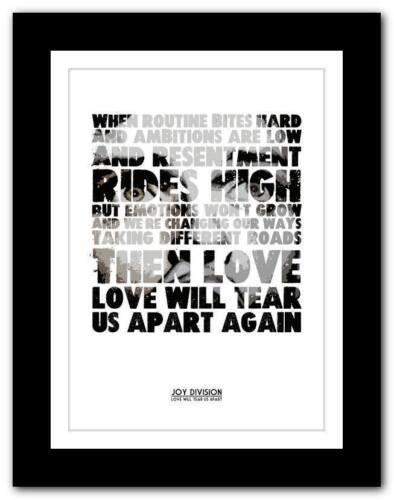 ❤ JOY DIVISION Love Will Tear Us Apart ❤  poster art print A1 A2 A3 or A4