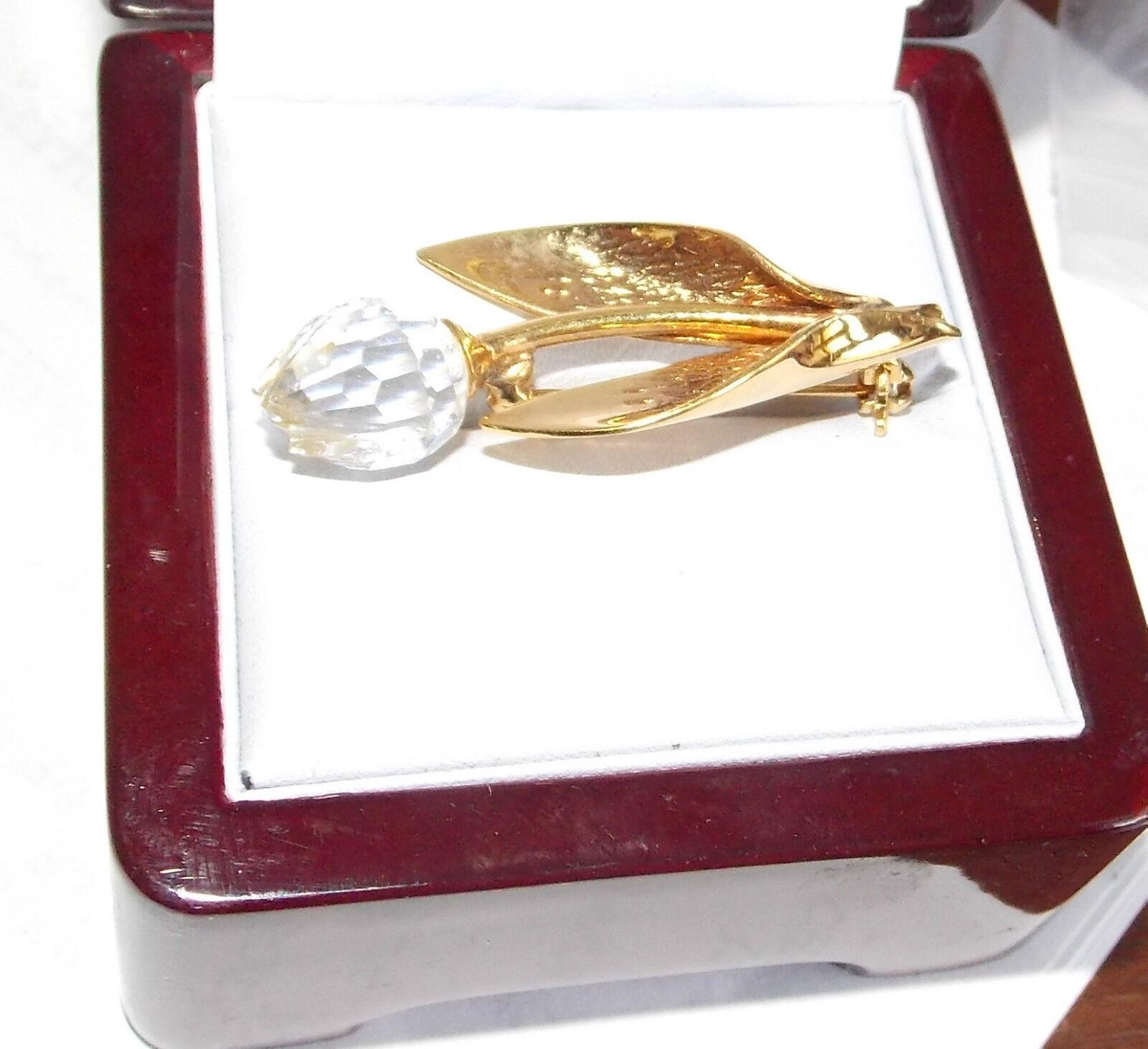 Dainty Swan Swarovski Crystal Glass Tulip Bud Flower gold Tone Brooch Pin 11a 5