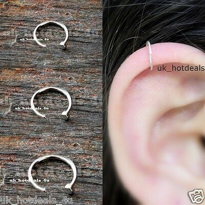 Surgical Steel Thin Small Silver Open Nose Ring Hoop 0.6mm Cartilage Piercing